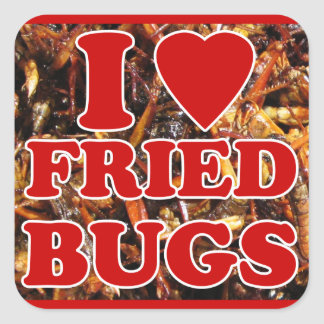 I Love Heart Fried Bugs Edible Insects Stickers