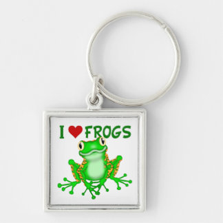 I love (heart) Frogs Keychain