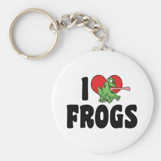 I Love Heart Frogs Keychain