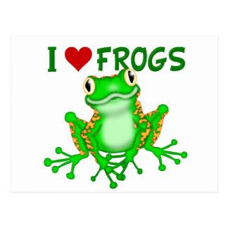 I love (heart) Frogs Postcard