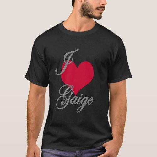 I Love Heart Gaige Dark T_Shirt