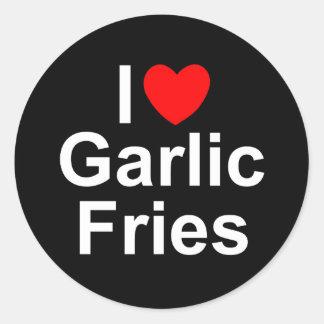 I Love (Heart) Garlic Fries Classic Round Sticker