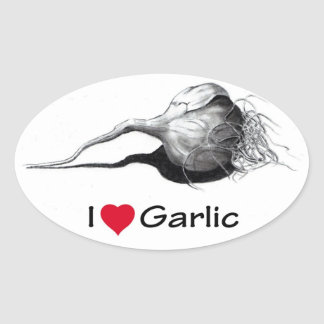 I Love (Heart) Garlic: Pencil Drawing, Realism Oval Sticker