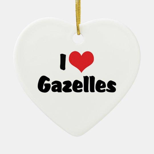 I Love Heart Gazelles Ceramic Ornament
