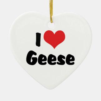I Love Heart Geese - Goose Lover Ceramic Ornament
