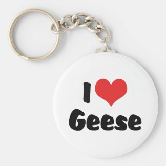 I Love Heart Geese - Goose Lover Keychain