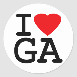 I Love Heart Georgia Classic Round Sticker