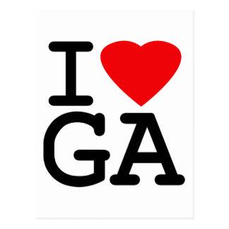 I Love Heart Georgia Postcard