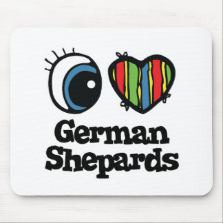I Love (Heart) German shepards Mouse Pad