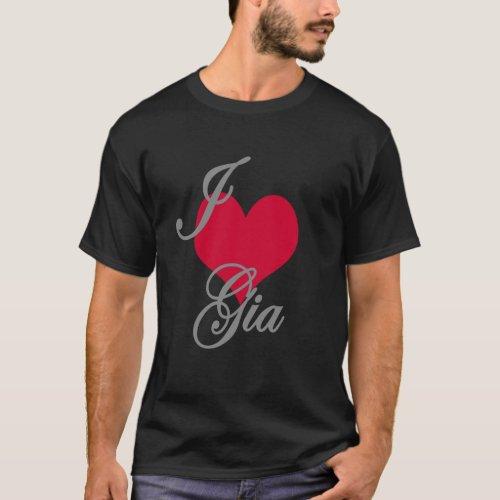 I Love Heart Gia Dark T_Shirt