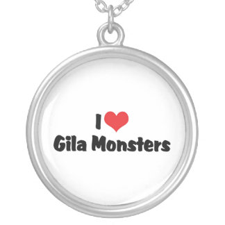 I Love Heart Gila Monsters - Lizard Lover Silver Plated Necklace