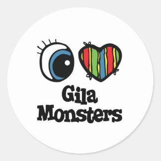 I Love Heart Gila monsters Round Sticker