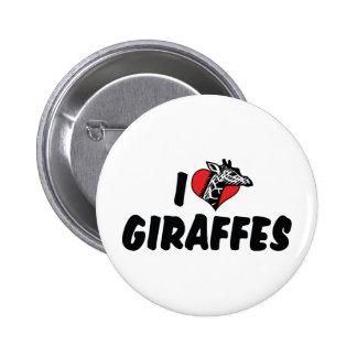 I Love Heart Giraffes - Giraffe Lover Button