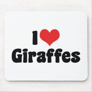 I Love Heart Giraffes - Giraffe Lover Mouse Pad