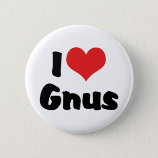 I Love Heart Gnus Button