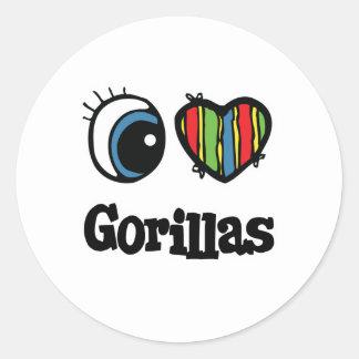 I Love (Heart) Gorillas Classic Round Sticker