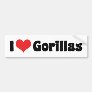 I Love Heart Gorillas - Gorilla Lover Bumper Sticker