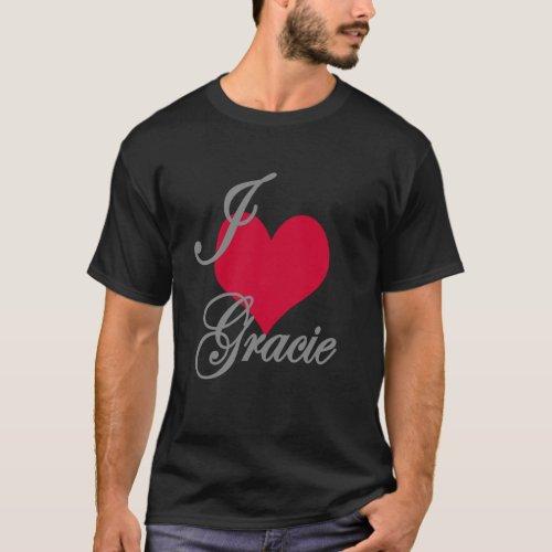I Love Heart Gracie Dark T_Shirt