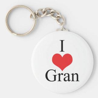 I Love (Heart) Gran Basic Round Button Keychain