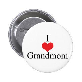 I Love (Heart) Grandmom Buttons