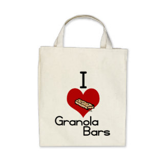 I love-heart granola bars tote bags