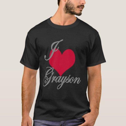 I Love Heart Grayson Dark T_Shirt