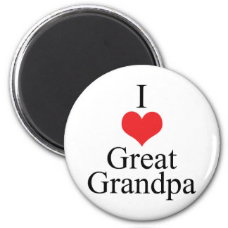 I Love (Heart) Great Grandpa 2 Inch Round Magnet