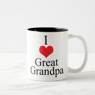 I Love (Heart) Great Grandpa Two-Tone Coffee Mug