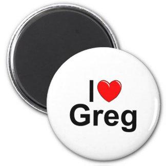 I Love (Heart) Greg 2 Inch Round Magnet