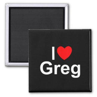 I Love (Heart) Greg 2 Inch Square Magnet