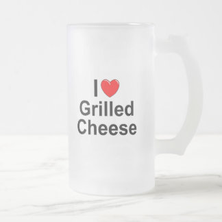 I Love (Heart) Grilled Cheese Frosted Glass Beer Mug