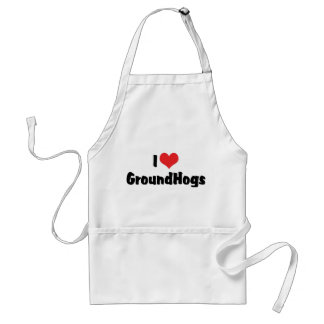 I Love Heart Groundhogs - Groundhog Lover Adult Apron