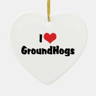 I Love Heart Groundhogs - Groundhog Lover Ceramic Ornament