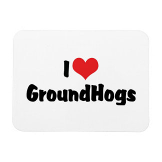 I Love Heart Groundhogs - Groundhog Lover Magnet