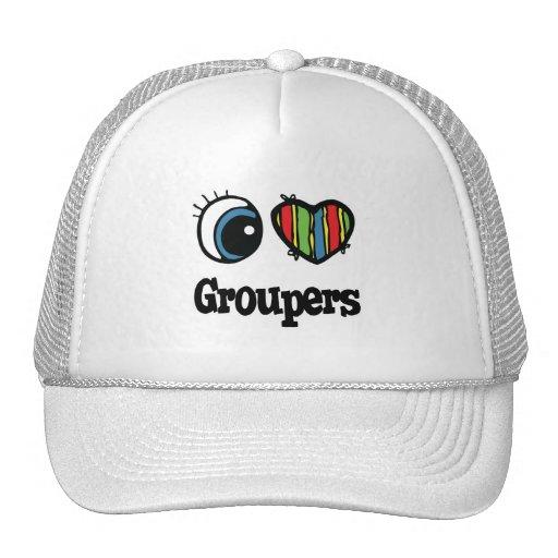 I Love (Heart) Groupers Mesh Hats