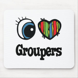 I Love (Heart) Groupers Mouse Pad