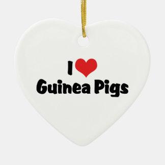 I Love Heart Guinea Pigs Ceramic Ornament