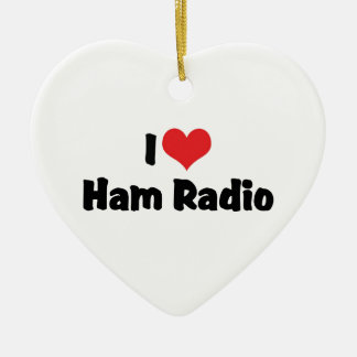 I Love Heart Ham Radio - Amateur Radio Lover Ceramic Ornament