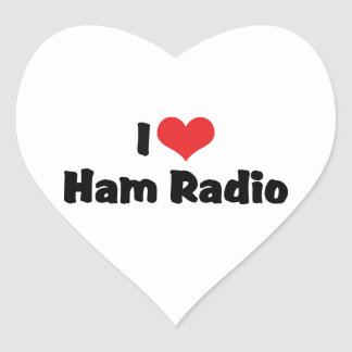 I Love Heart Ham Radio - Amateur Radio Lover Heart Sticker