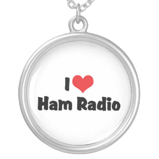 I Love Heart Ham Radio - Amateur Radio Lover Silver Plated Necklace