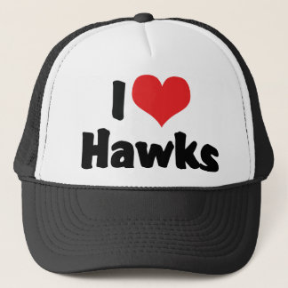 I Love Heart Hawks Trucker Hat