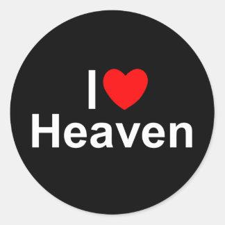 I Love (Heart) Heaven Classic Round Sticker