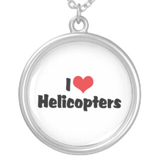 I Love Heart Helicopters Silver Plated Necklace