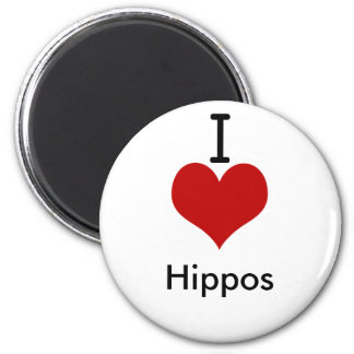 I Love (heart) Hippos 2 Inch Round Magnet