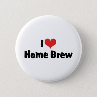 I Love Heart Home Brew - Beer Lover Button