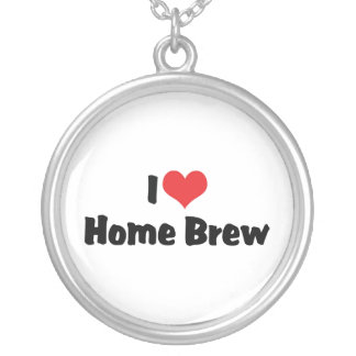 I Love Heart Home Brew - Beer Lover Silver Plated Necklace
