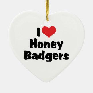 I Love Heart Honey Badgers Ceramic Ornament