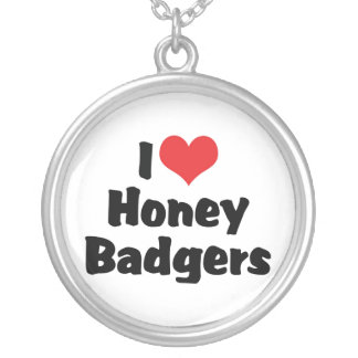 I Love Heart Honey Badgers Silver Plated Necklace