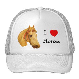 I Love Heart Horses Hat