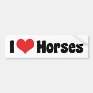 I Love Heart Horses - Horse Lover Bumper Sticker